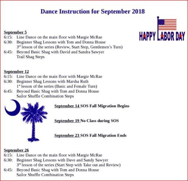 Dance Instruction Calendar Virginia Beach Shag Club